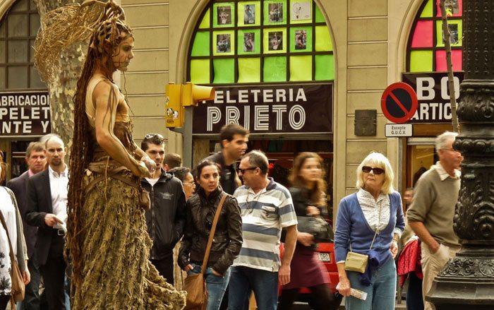 Живые статуи на Ла Рамбла