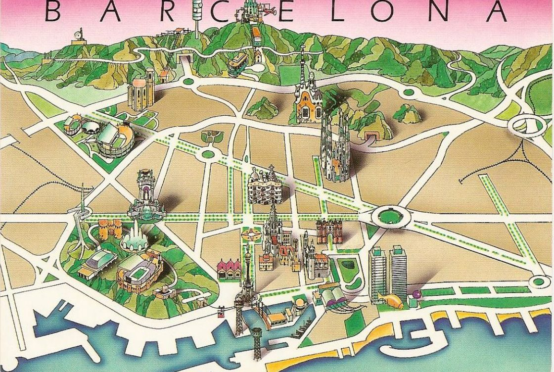 Auto Karta Barcelona.Karta Dostoprimechatelnostej Barselony Na Russkom Yazyke