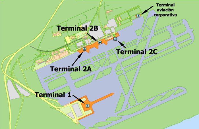 Схема аэропорта Барселоны
