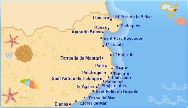 Коста Брава на карте