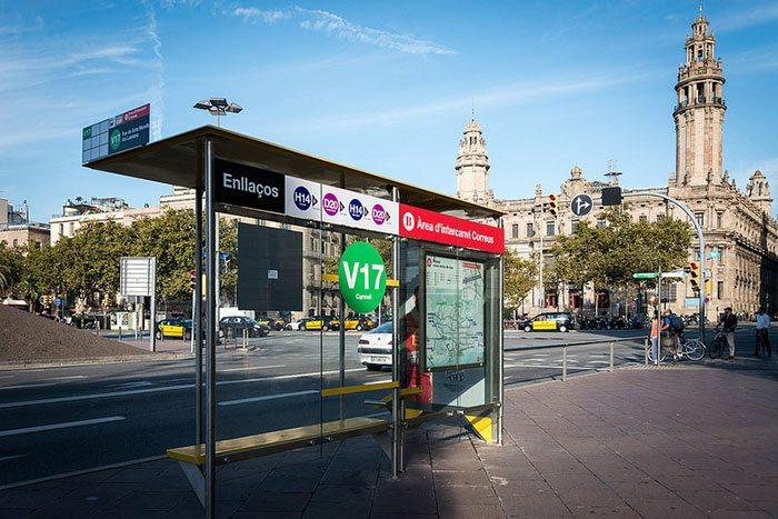 Автобусные остановки в Барселоне
