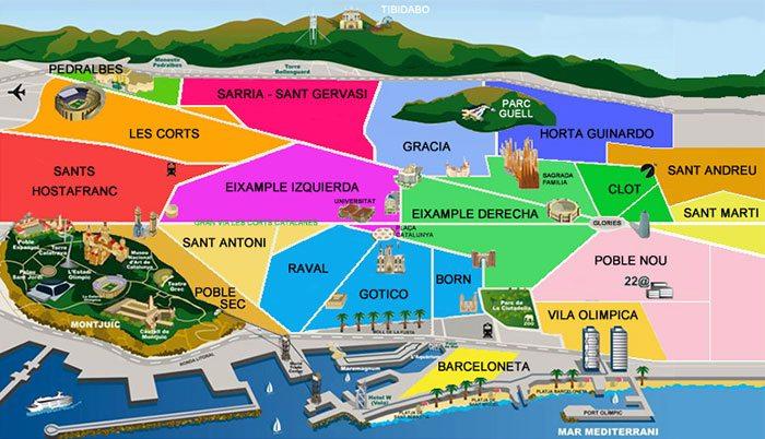 Кварталы Барселоны: карта