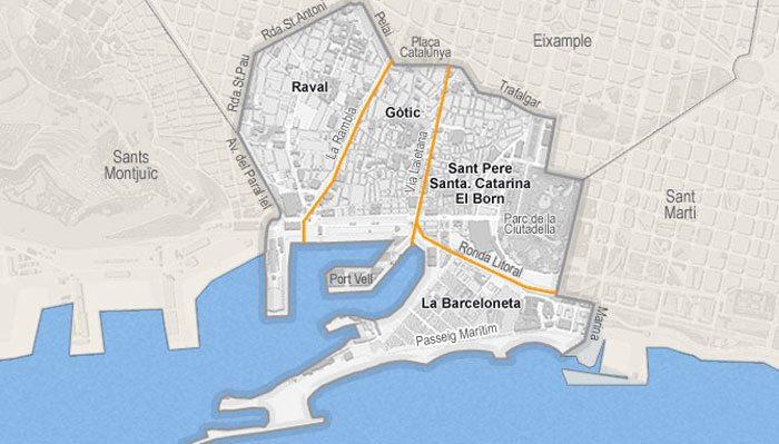 Старая Барселона на карте города