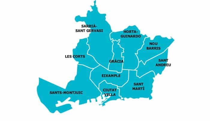 Район Орта-Гинардо на карте Барселоны