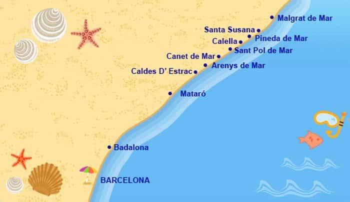 Побережье Барселоны: карта