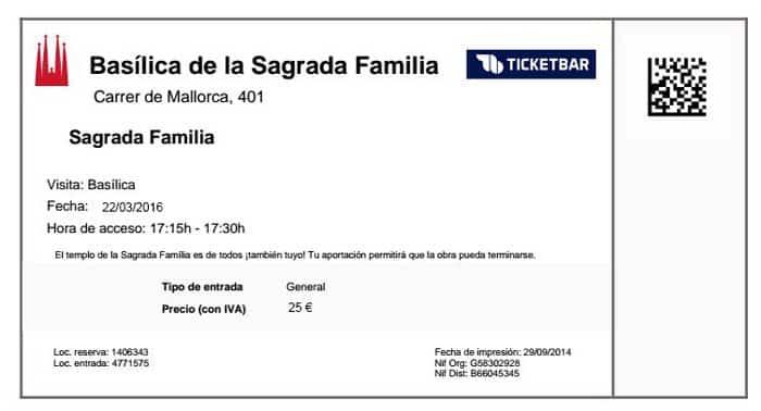Билет на вход в Храм Святого Семейства