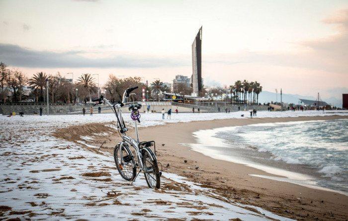 Набережная Барселоны зимой