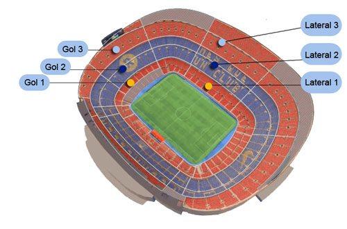 Расположение трибун на стадионе Камп Ноу: