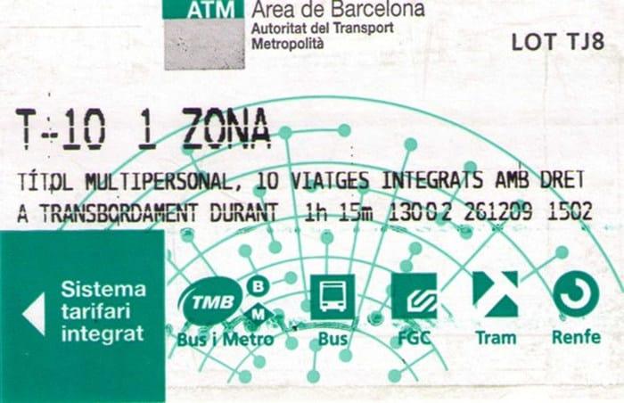 Tarifnye Zony Barselony I Proezdnoj T 10 Barselona Tm